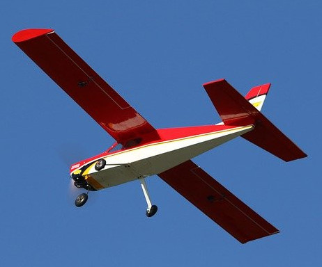 RC plane flying in sky