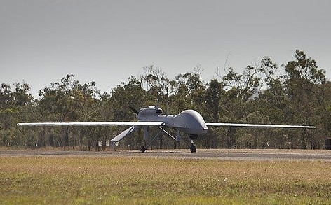 Military UAV on runway
