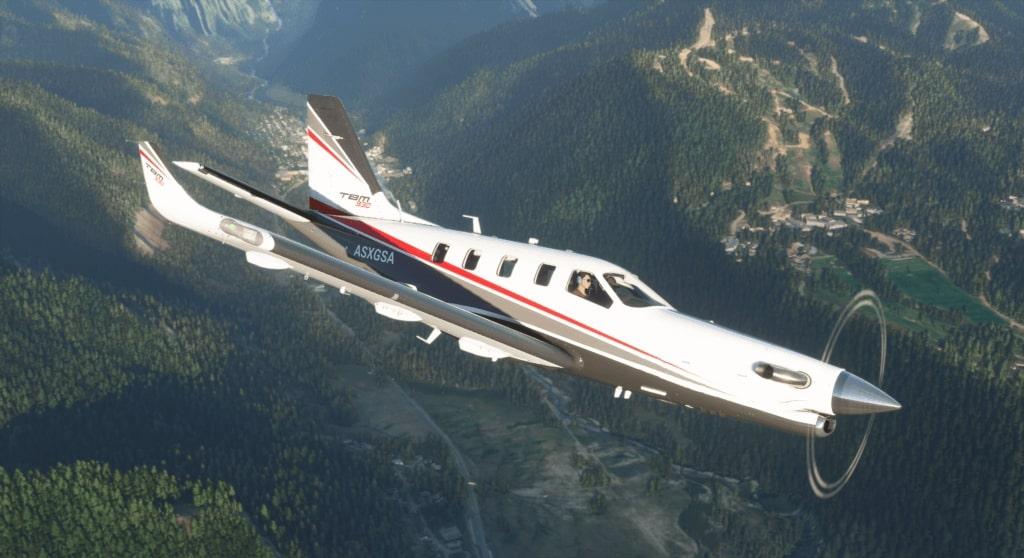 TBM flying around mountain