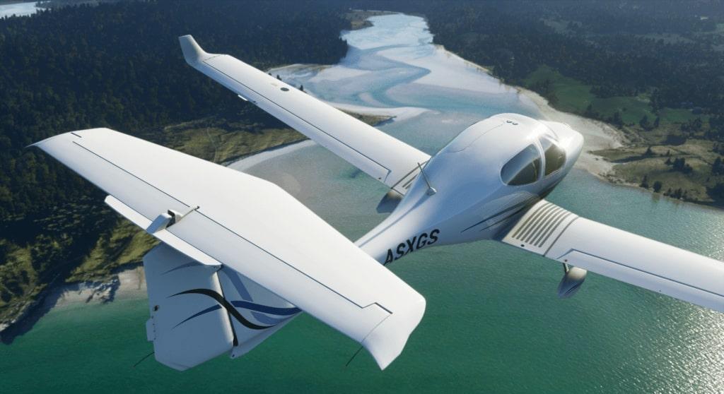 plane flying in FS2020