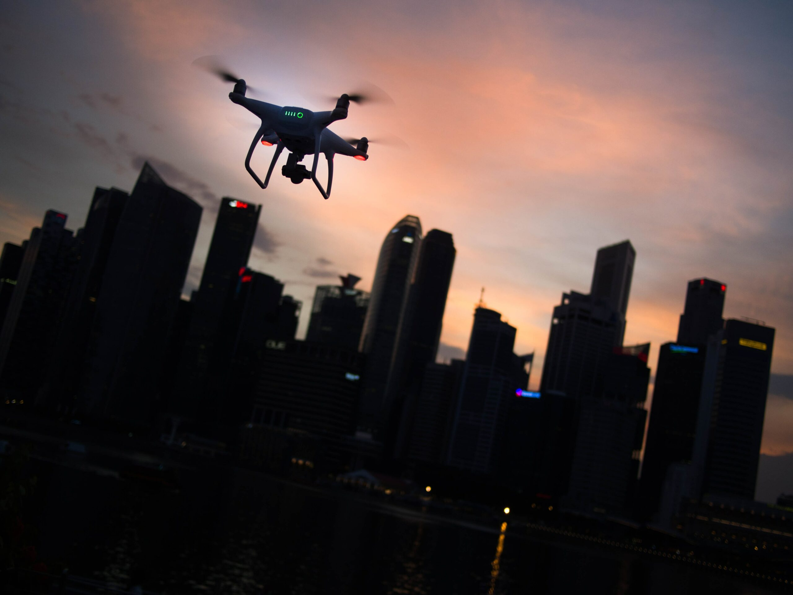 Flying drone in the night